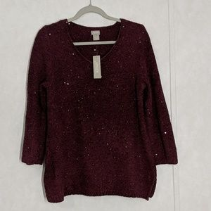 CHICO'S PULLOVER SEQUIN V-NECK SWEATER 3/4 SLEEVES